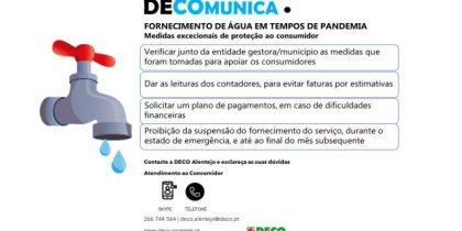 Recomendações da DECO. Fornecimento de água em tempos de pandemia