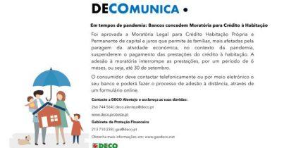 Recomendações da DECO para moratórias para crédito à habitação