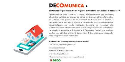 Recomendações da DECO para requisição de moratórias no crédito à habitação