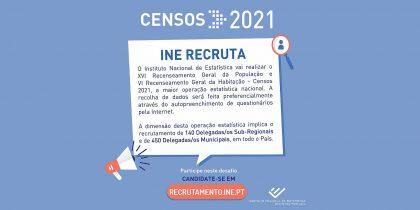 Censos 2021: INE recruta