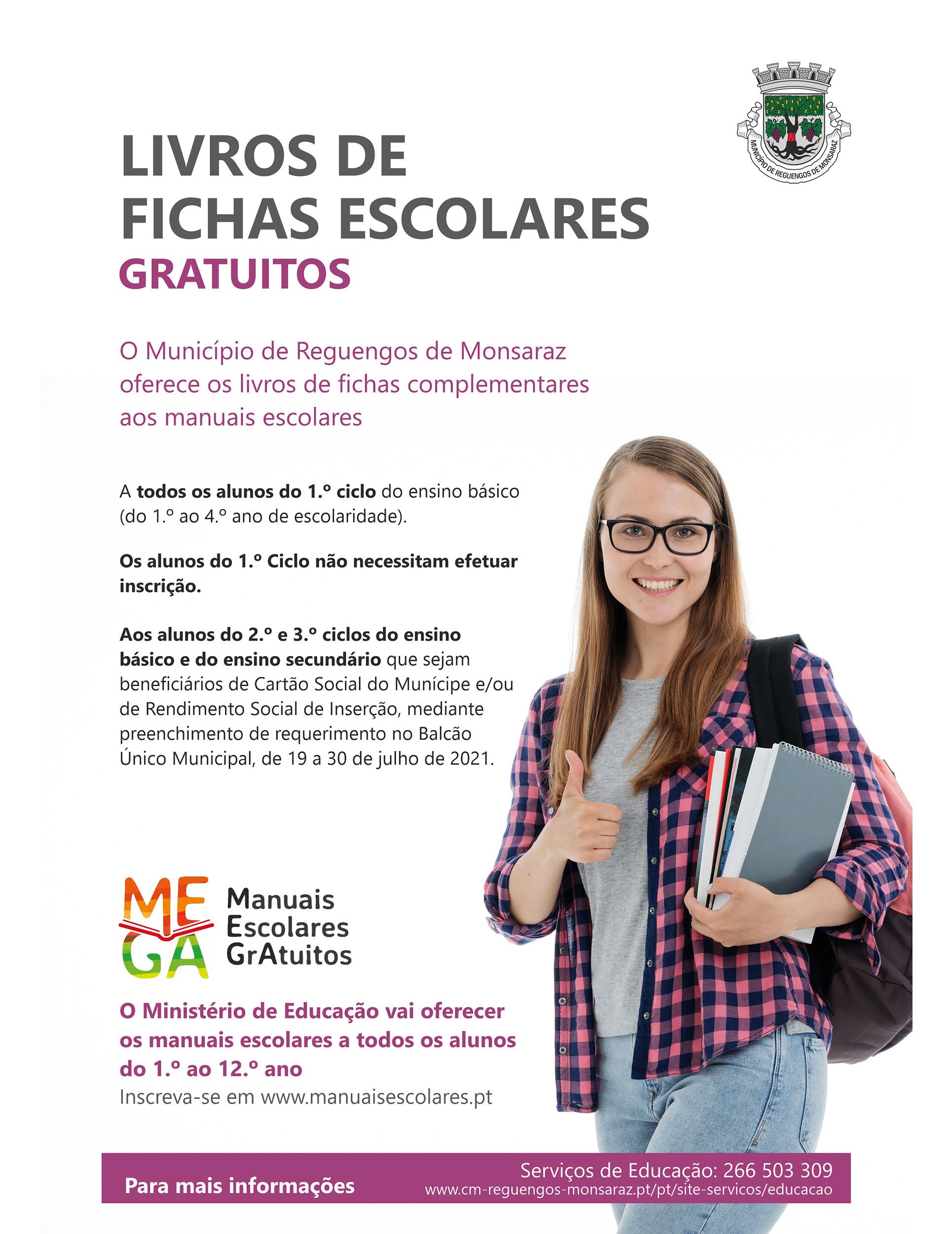 Cartaz dos livros de fichas escolares para o ano letivo 2021/2022